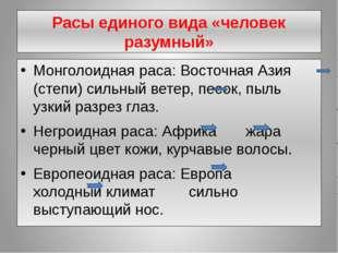 Расы единого вида «человек разумный» Монголоидная раса: Восточная Азия (степи