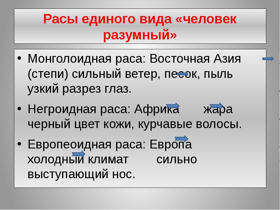Расы единого вида «человек разумный» Монголоидная раса: Восточная Азия (степи...