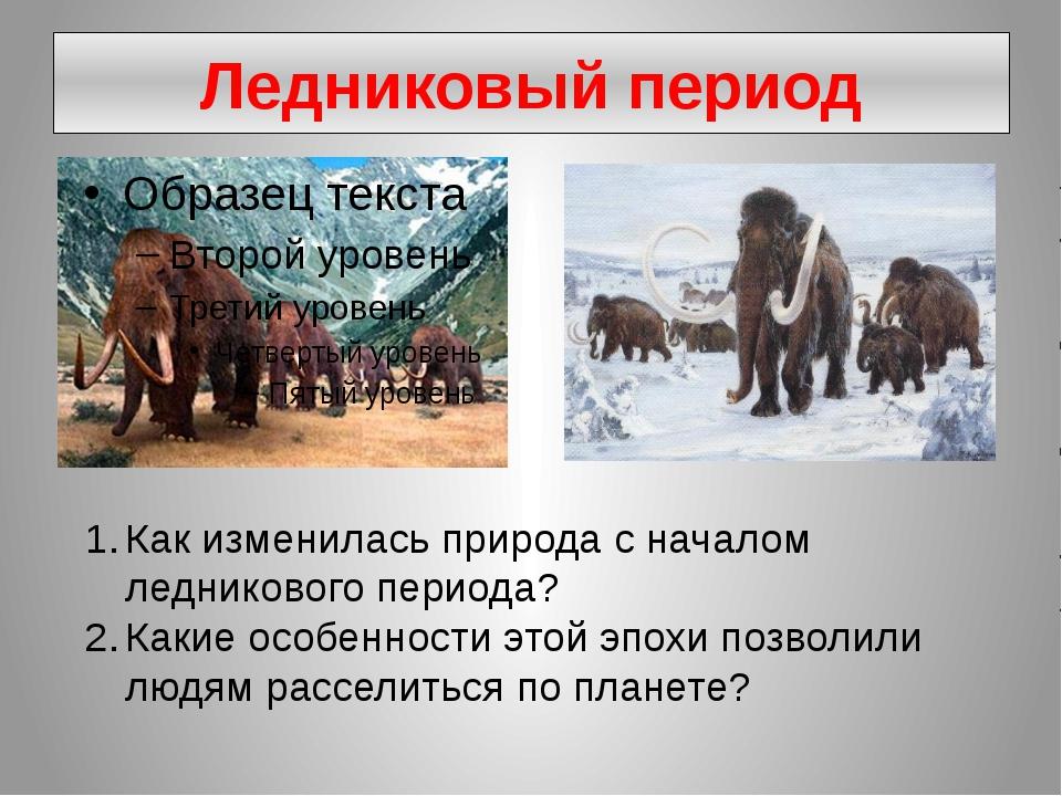 Ледниковый период Как изменилась природа с началом ледникового периода? Какие...