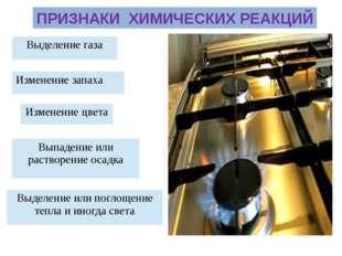 ПРИЗНАКИ ХИМИЧЕСКИХ РЕАКЦИЙ Выделение газа Изменение цвета Выпадение или раст