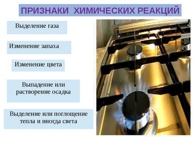 ПРИЗНАКИ ХИМИЧЕСКИХ РЕАКЦИЙ Выделение газа Изменение цвета Выпадение или раст...