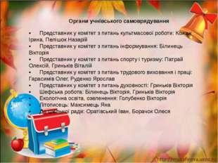 •Представник у комітет з питань культмасової роботи: Кожан Ірина, Пелішок Н