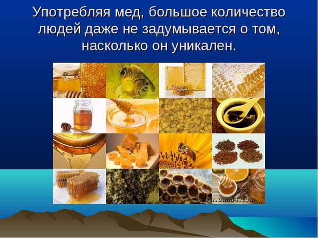 Употребляя мед, большое количество людей даже не задумывается о том, наскольк...