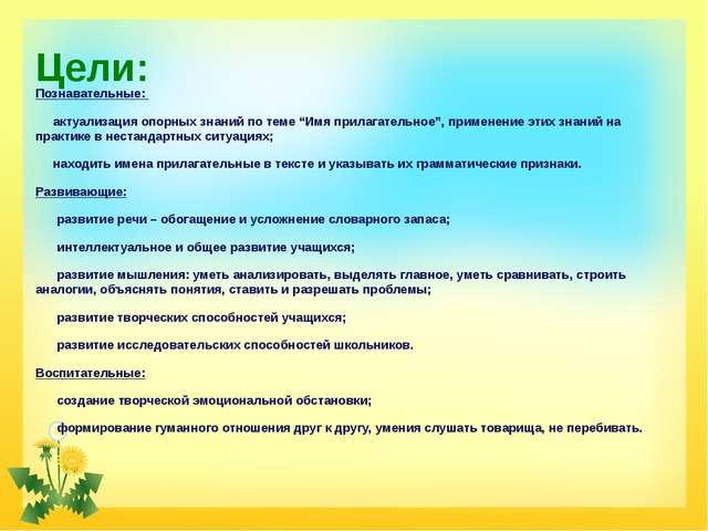 """Цели: Познавательные: актуализация опорных знаний по теме """"Имя прилагательное..."""