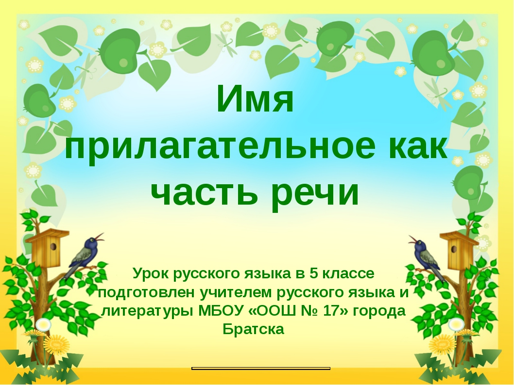 Имя прилагательное как часть речи Урок русского языка в 5 классе подготовлен...