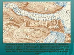 1)Фирновые поля и вечные снега. 2)Ледниковые языки. 3)Ледниковые трещины.