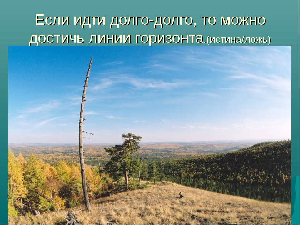 Если идти долго-долго, то можно достичь линии горизонта.(истина/ложь)