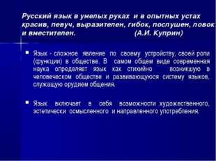 Русский язык в умелых руках и в опытных устах красив, певуч, выразителен, гиб