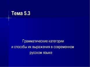 Тема 5.3 Грамматические категории и способы их выражения в современном русско