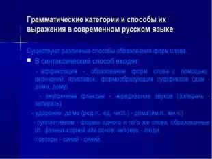 Грамматические категории и способы их выражения в современном русском языке С