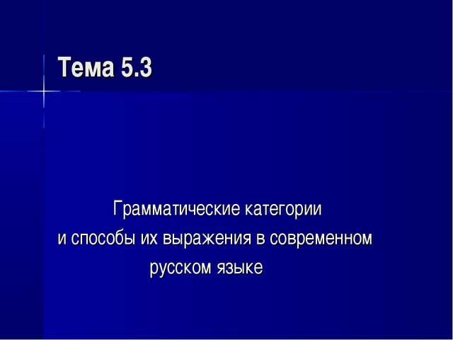 Тема 5.3 Грамматические категории и способы их выражения в современном русско...