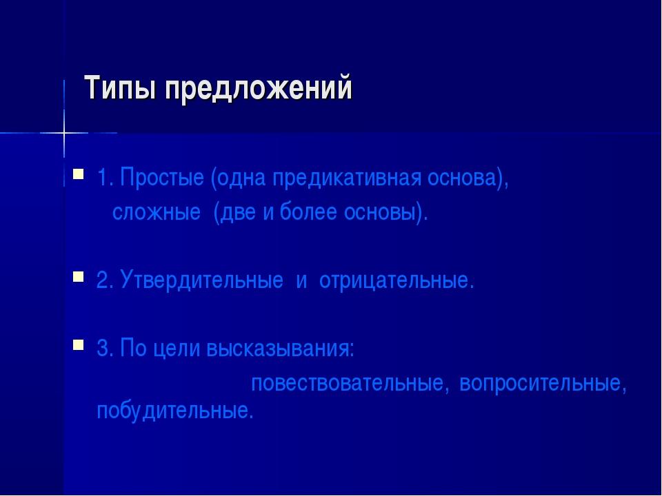 Типы предложений 1. Простые (одна предикативная основа), сложные (две и более...