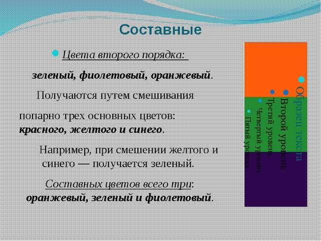 Составные Цвета второго порядка: зеленый, фиолетовый, оранжевый. Получаются п...
