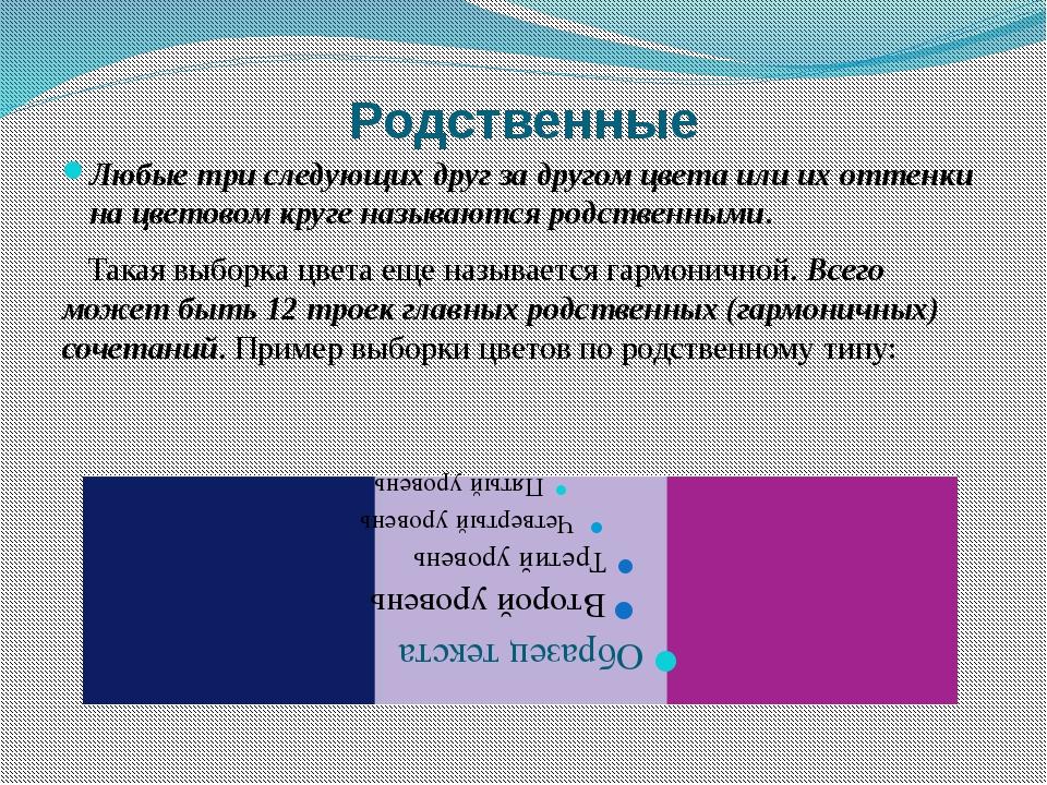 Родственные Любые три следующих друг за другом цвета или их оттенки на цветов...