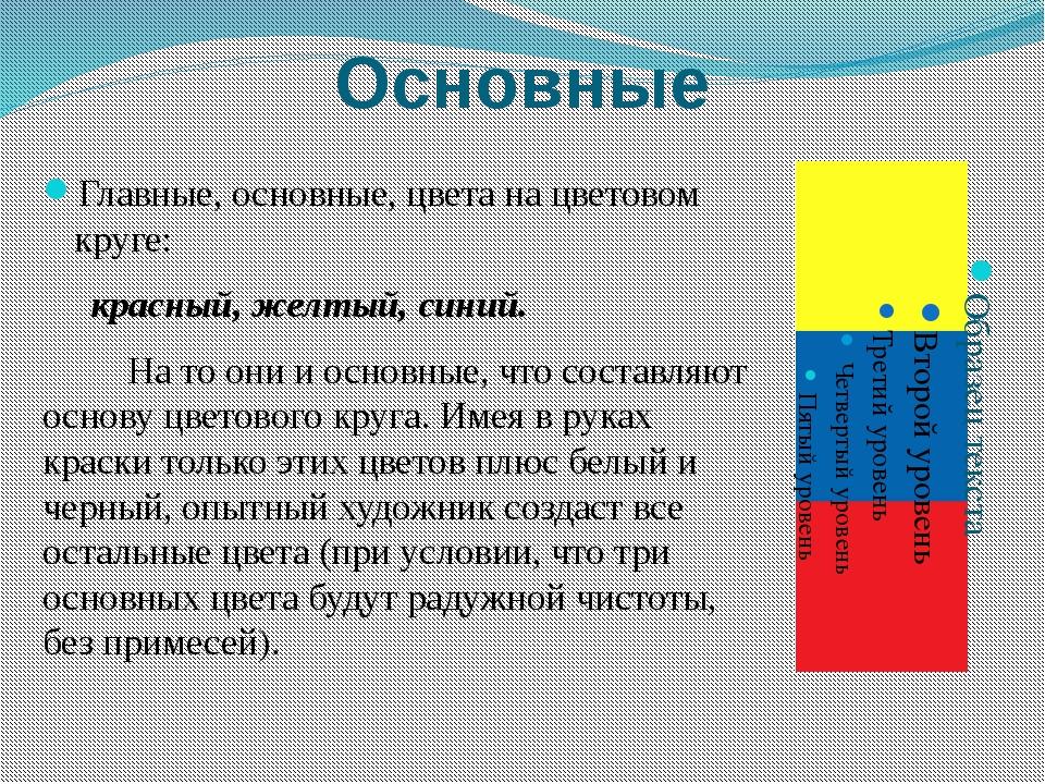 Основные Главные, основные, цвета на цветовом круге: красный, желтый, синий....