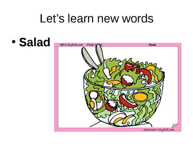 Let's learn new words Salad
