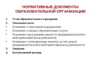 НОРМАТИВНЫЕ ДОКУМЕНТЫ ОБРАЗОВАТЕЛЬНОЙ ОРГАНИЗАЦИИ Устав образовательного учре