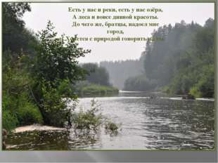 Есть у нас и реки, есть у нас озёра, А леса и вовсе дивной красоты. До чего