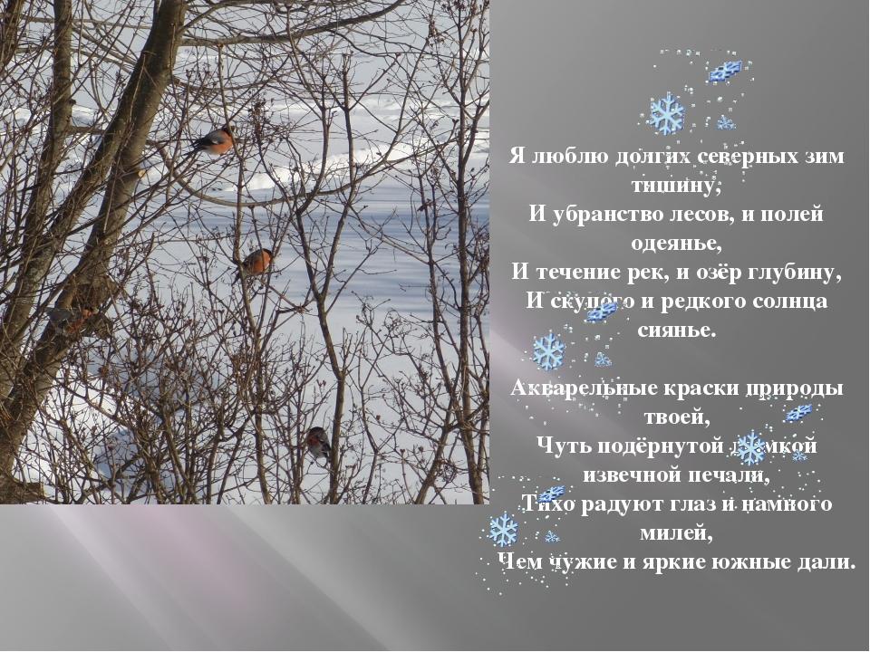 Я люблю долгих северных зим тишину, И убранство лесов, и полей одеянье, И теч...
