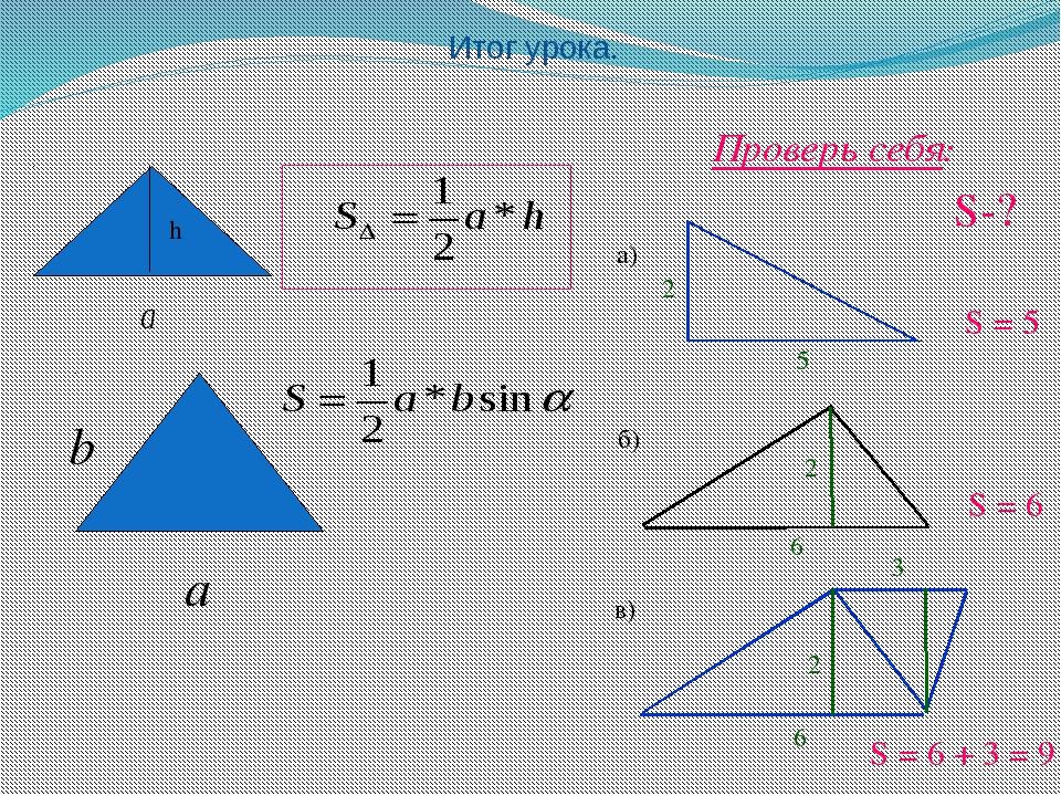 Итог урока. h а а) б) в) S-? Проверь себя: 2 5 6 2 S = 6 S = 5 2 3 S = 6 + 3...