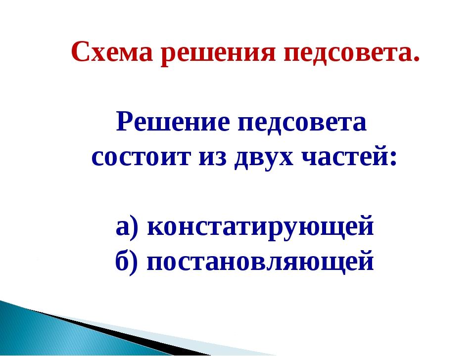 Схема решения педсовета. Решение педсовета состоит из двух частей: а) констат...