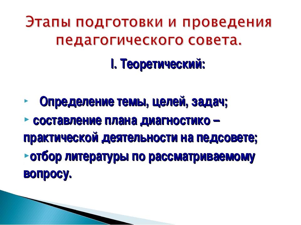 I. Теоретический: Определение темы, целей, задач; составление плана диагности...