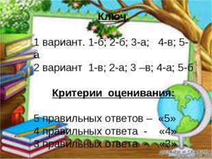 Ключ. 1 вариант. 1-б; 2-б; 3-а; 4-в; 5-а 2 вариант 1-в; 2-а; 3 –в; 4-а; 5-б К
