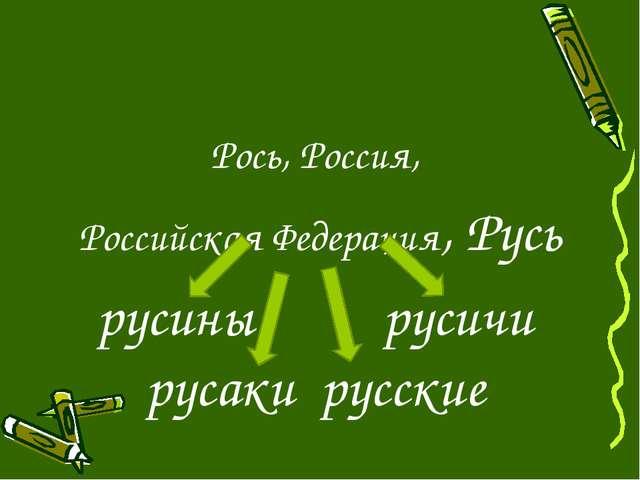 Рось, Россия, Российская Федерация, Русь русины русичи русаки русские