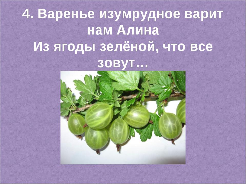 4. Варенье изумрудное варит нам Алина Из ягоды зелёной, что все зовут…