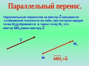 Параллельным переносом на вектор а называется отображение плоскости на себя,