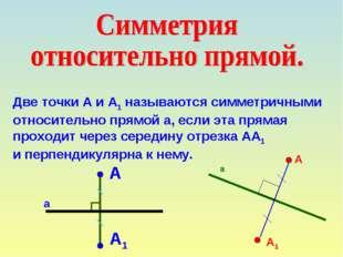 Две точки А и А1 называются симметричными относительно прямой а, если эта пря