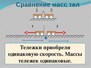 1 2 Тележки приобрели одинаковую скорость. Массы тележек одинаковые. Сравнени