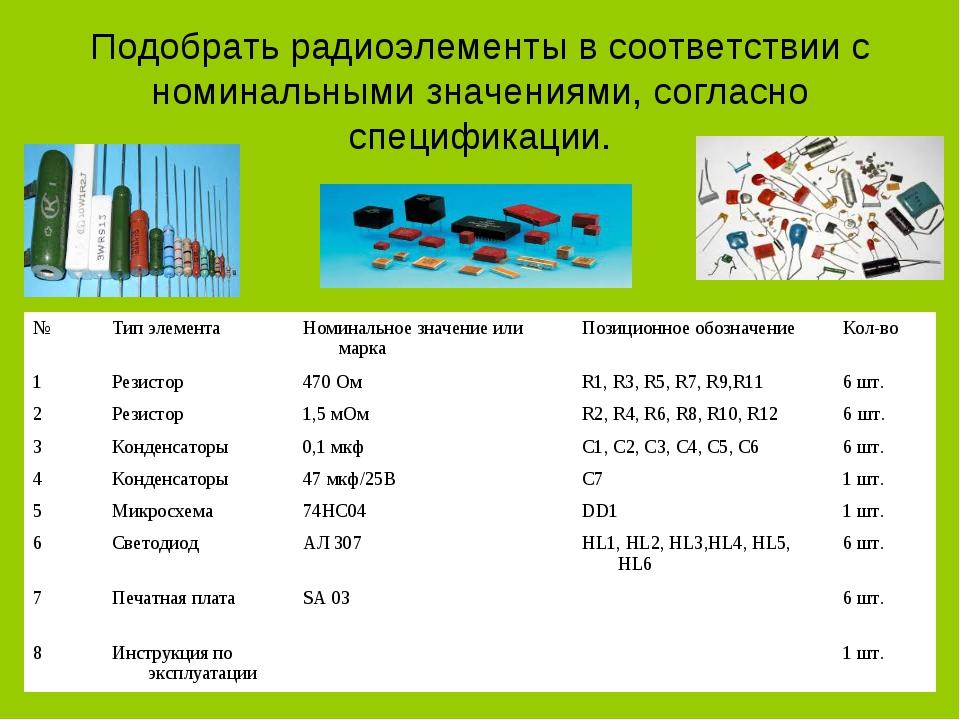 Подобрать радиоэлементы в соответствии с номинальными значениями, согласно сп...