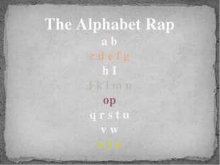 The Alphabet Rap a b c d e f g h I J k l m n op q r s t u v w x y z