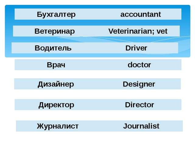 Бухгалтер accountant Ветеринар Veterinarian; vet Водитель Driver Врач doctor...