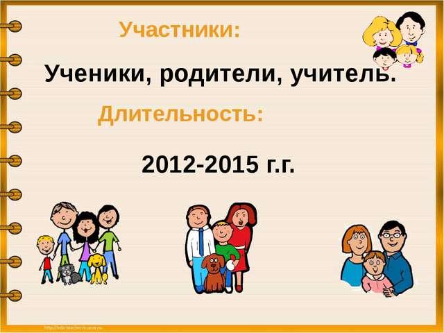 Участники: Ученики, родители, учитель. Длительность: 2012-2015 г.г.