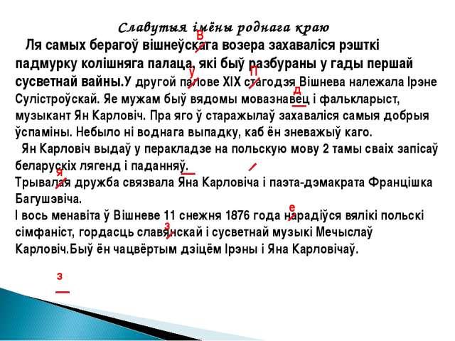 Славутыя імёны роднага краю Ля самых берагоў вішнеўскага возера захаваліся р...
