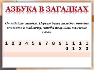 Отгадайте загадки. Первую букву каждого ответа впишите в табличку, чтобы полу