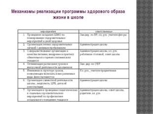 Механизмы реализации программы здорового образа жизни в школе