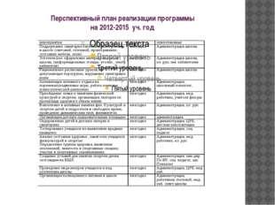 Перспективный план реализации программы на 2012-2015 уч. год