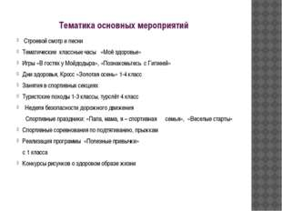 Тематика основных мероприятий Строевой смотр и песни Тематические классные ча