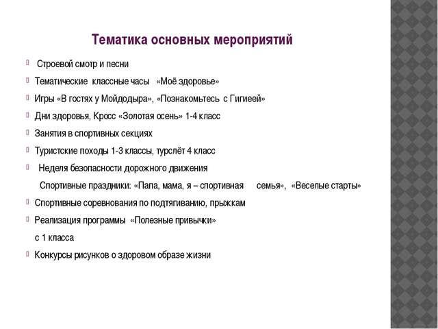 Тематика основных мероприятий Строевой смотр и песни Тематические классные ча...