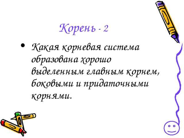 Корень - 2 Какая корневая система образована хорошо выделенным главным корнем...