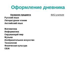 Оформление дневника Название предмета Русский язык Литературное чтение Англий
