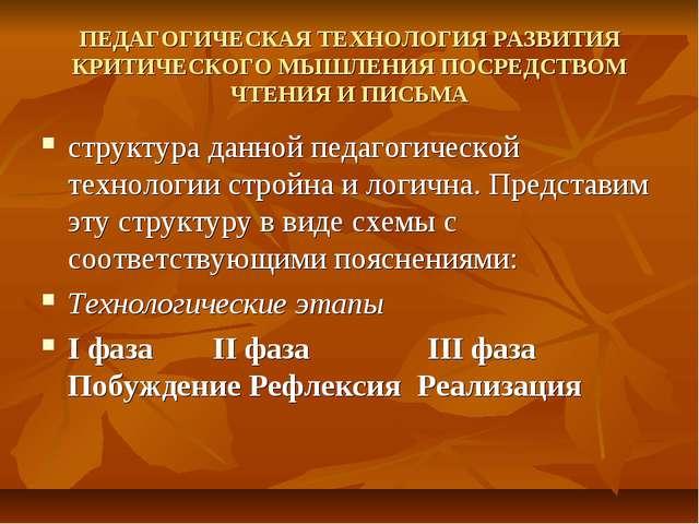ПЕДАГОГИЧЕСКАЯ ТЕХНОЛОГИЯ РАЗВИТИЯ КРИТИЧЕСКОГО МЫШЛЕНИЯ ПОСРЕДСТВОМ ЧТЕНИЯ И...