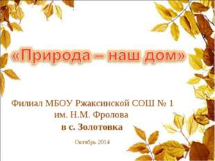 Филиал МБОУ Ржаксинской СОШ № 1 им. Н.М. Фролова в с. Золотовка Октябрь 2014