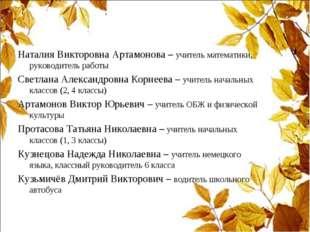 Наталия Викторовна Артамонова – учитель математики, руководитель работы Светл