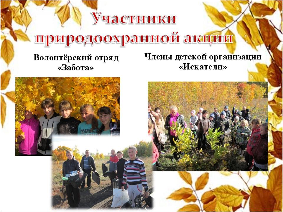 Волонтёрский отряд «Забота» Члены детской организации «Искатели»