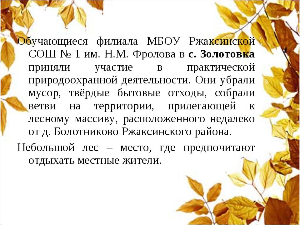 Обучающиеся филиала МБОУ Ржаксинской СОШ № 1 им. Н.М. Фролова в с. Золотовка...