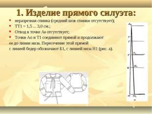 1. Изделие прямого силуэта: неразрезная спинка (средний шов спинки отсутствуе